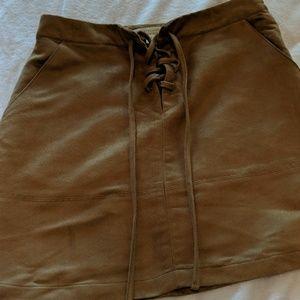 Caramel color suede skirt